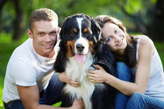 couple with a healthy dog