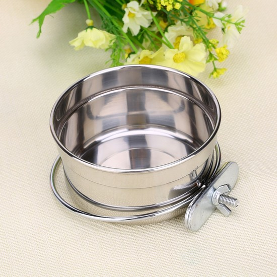bird food and water dishes